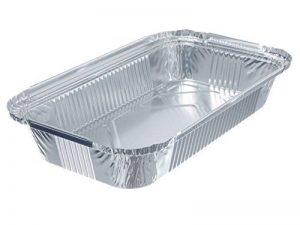 100 Barquettes rectangulaires en aluminium de 0,8 l 218 x 155 x 38 mm-barquettes alimentaires de la marque Alu-Schalen image 0 produit