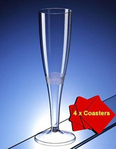 50x Flûtes à Champagne en plastique de haute qualité 160ml (6oz). Idéal pour les pique-niques, camping et glamping, festivals, piscine, barbecue, en extérieur, jardin et Occasions spéciales. Offre Lot de 50verres avec 4x AIOS boissons Tapis en boîte. image 0 produit