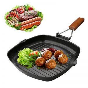 A-szcxtop pliable portable Camping pique-nique Poêle anti-adhésive Poêle grill barbecue à steak Pot avec poignée en bois de la marque A-SZCXTOP image 0 produit