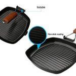 A-szcxtop pliable portable Camping pique-nique Poêle anti-adhésive Poêle grill barbecue à steak Pot avec poignée en bois de la marque A-SZCXTOP image 2 produit