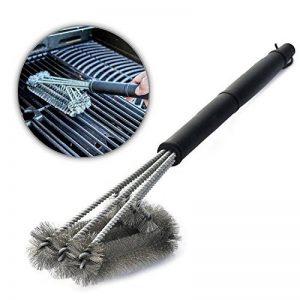 """Aodoor Brosses à barbecue 18"""" - acier inoxydable 3 brosses, avec un manche long et ergonomique, Meilleur outils de nettoyage 360°pour grille et barbecue au charbon de bois, gaz, porcelaine etc de la marque Aodoor image 0 produit"""