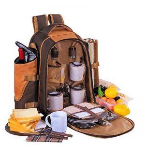 Apollowalker 4 Panier de sac à dos de pique-nique Sac isotherme avec Service de table et couverture de la marque APOLLOWALKER image 0 produit