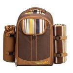 Apollowalker Sac à dos de pique-nique pour sac à dos de pique-nique, 4 personnes, avec vaisselle et couverture de la marque Apollowalker image 1 produit