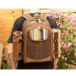 Apollowalker Sac à dos de pique-nique pour sac à dos de pique-nique, 4 personnes, avec vaisselle et couverture de la marque Apollowalker image 4 produit