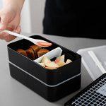 Boîte à Bento Lunch Box Isotherme, Set de 2 Couvert et Portable Sac à Déjeuner Thermique / Boîte à Repas avec 2 Sans BPA Micro Onde / Unisexe Réutilisable Food Container et Sac Thermique Repas ( Noir ) de la marque Meigirlxy image 2 produit