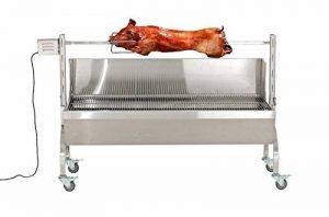 CLP Tourne broche Barbecue éléctrique MONTY, beaucoup d´accessoires, surface embrochage 114 cm, usage comme grill possible, grille 126x50 argent de la marque CLP image 0 produit