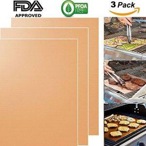 Copper Grill Mat, 100% anti-adhésif BBQ Grill & Baking Mats (3pcs) -FDA approuvé, PFOA Free; Heavy Duty, réutilisable et facile à nettoyer - Fonctionne avec du gaz, du charbon de bois, du gril électrique et plus encore de la marque Anyos image 0 produit