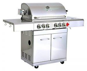 GREADEN Barbecue à gaz avec tournebroche DÖNER - 4 brûleurs + 1 brûleur infrarouge + 1 feu latéral avec tablettes latérales et thermomètre de la marque GREADEN image 0 produit