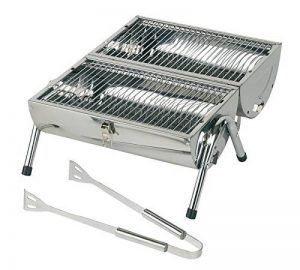 Grill de Table Barbecue au charbon de bois Ø 25 x 38 cm 2,8 kg avec 2 x grille barbecue à charbon Plus Pince à barbecue Matériau acier inoxydable couleur Argent Barbecue de la marque Tops image 0 produit
