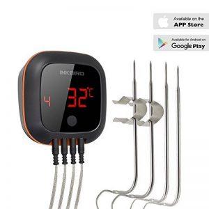 Inkbird IBT-4XS Cuisine Thermometre Sans Fil avec avec Assemblage Magnétique,Batterie en Aluminium Intégrée 1000mAh, Rotation de Ecran,Thermometre Exterieur pour Four Barbecue Electrique Fumoir Viande (Inkbird IBT-4XS Thermometre + 4 Sondes) de la marque image 0 produit