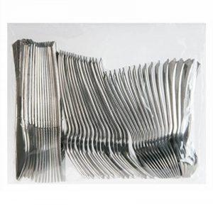 Invero® - Lot de 48 couverts jetables réutilisable finition métallique argentée: 16 fourchettes, 16 couteaux et 16cuillères à dessert - Parfait pour les barbecues, pique-niques, fêtes, buffets et bien plus encore de la marque Invero® image 0 produit