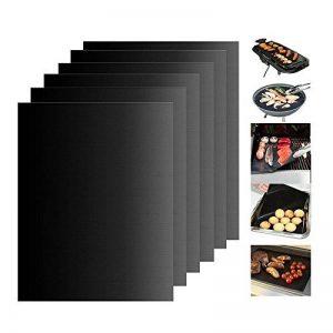 KONKY Tapis de barbecue réutilisable BBQ (6 pcs), Tapis de cuisson antiadhésif résistant à haute température en Téflon, travail au Gaz, Charbon de bois, Fours électriques et Four(12.99 X 15.74 pouces) de la marque KONKY image 0 produit
