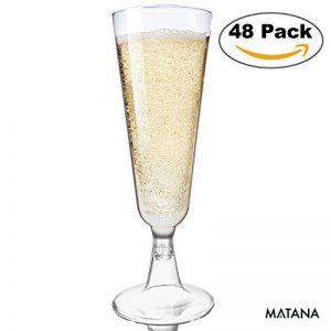 Lot de 48 flûtes à champagne jetables - parfait pour des fêtes de Noël, mariages, célébrations de nouvelle année et des événements intérieurs et extérieur de la marque Matana image 0 produit