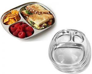 Ovale en acier inoxydable à manger plaque 3 compartiment pour Pav Bhaji et petit-déjeuner, pique-nique assiettes, Vaisselle Plat assiettes, vaisselle, Pâques / Fête des Mères / Thali Cadeaux du Vendredi Saint, 9,9 X 8,3 pouces (Argent) de la marque PMK image 0 produit