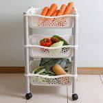 Panier chariot de stockage cuisine avec paniers de stockage et roues fruits et legumes - plastique résistant - Blanc de la marque Maxi Nature Kitchenware image 4 produit