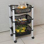 Panier chariot de stockage cuisine avec paniers de stockage et roues fruits et legumes - plastique résistant - Noir de la marque Maxi Nature Kitchenware image 3 produit
