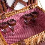 Panier pique-nique complet vaisselle en porcelaine 4 personnes panier en osier Panier pique-nique panier en osier osier pique-nique panier pique-nique (LYP1801, rouge) de la marque eGenuss image 2 produit