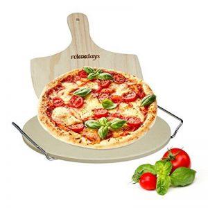Relaxdays Pierre à pizza ronde 1 cm avec support en métal pierre à pain cuisson four pelle à pizza bois spatule HxlxP: 4 x 32 x 32 cm, nature de la marque Relaxdays image 0 produit