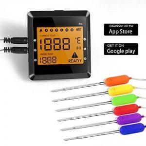 Sonde de Température,Smart Bluetooth BBQ Thermomètre ,6 Canaux 6 Sondes Numérique BBQ Alimentaire,Thermomètre En Temps Réel,Android iPhone iPad iOS -- Version Mise à Niveau OUTAD de la marque OUTAD image 0 produit