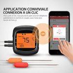 Thermomètre Bluetooth Cuisine, TOPELEK Thermomètre à Viande Intelligent, Thermomètre de Cuisson Sans Fil Connexion Bluetooth avec 6 Prises de Sonde Disponibles, Thermometre Grand Ecran Rétro-éclairé Lecture Instantanée 2 Sondes Fournis, Thermometre pour C image 2 produit