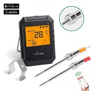 Thermomètre de Barbecue Cuisine Bluetooth Universel Professionnel 6 Sondes + avec alarme pour la cuisine BBQ volaille/Grill/USDA/Four/Viande - Android iPhone iPad iOS - Version Mise à Niveau de la marque WEINAS image 0 produit