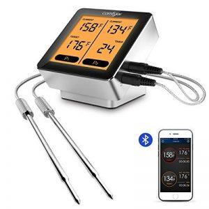 Thermomètre de cuisine numérique à distance sans fil, Comfyer Bluetooth Thermomètre numérique à lecture instantanée avec double sonde inox, grand écran LCD rétroéclairé, Alarme à distance de 100 pieds, Moniteur d'alarme de temps pour fumeur, barbecue, fou image 0 produit