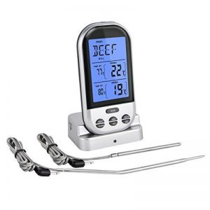 Thermomètre de cuisine , thermomètre Numérique sans-fil avec 2 sonde en inox/probe de test waterproof /thermomètre avec minuterie/thermomètre Grande écran LED/thermomètre parfait pour BBQ,la viande ,le gril et le four de la marque Elinker image 0 produit