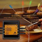 Thermomètre numérique de barbecue Bluetooth, thermomètre de cuisine en temps réel écran numérique LCD avec 6sondes pour barbecue, four, cuisson, Grill, barbecue, etc. (Noir) de la marque MIGVELA image 2 produit