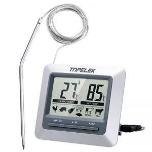 Topop Thermomètre Sonde Numérique de Cuisine Numérique avec Ecran LCD Programmable, Alerte BIPS et Température Préréglée/Mode de Minuterie/Parfait pour l'Alimentation, la Viande, le Gril , BBQ, Lait et l'Eau de Bain de la marque TOPELEK image 0 produit