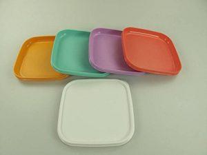 TUPPERWARE Plaque assiettes (4) + Couvercle orange, vert pastel, pourpre, rouge de la marque Tupperware image 0 produit