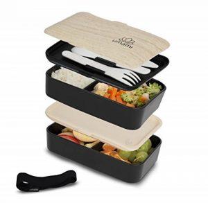 Umami Bento Original Noir - Lunch Box À 2 Compartiments Hermétiques Et 3 Couverts Solides | Convient Aux Adultes Comme Aux Enfants | Passe Au Micro-ondes Et Au Lave-vaisselle | Durable, Sain & Design de la marque Umami image 0 produit
