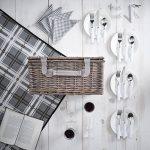 VonShef Panier Pique-Nique en Osier + Vaisselle et Couverture Incluses 4 Personnes - Vichy Gris de la marque VonShef image 1 produit